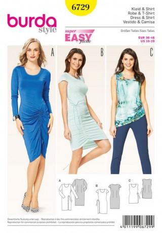 Shirt, Kleid – runder Ausschnitt – seitl. Raffung , Gr. 36 - 46, Schnittmuster Burda 6729
