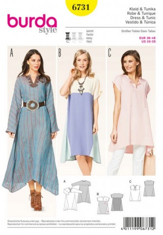Kleid, Tunika – runder Ausschnitt mit Schlitz – Colourblocking, Gr. 36 - 46, Schnittmuster Burda 67