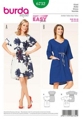 Kleid – O-Shape – Banddurchzug, Gr. 36 - 46, Schnittmuster Burda 6732