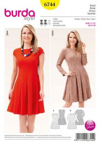 Kleid – Teilungsnähte – Falten, Gr. 17 - 22, Schnittmuster Burda 6744