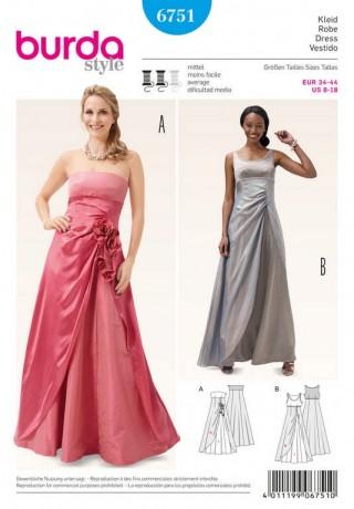 Abendkleid – Korsagenkleid – seitliche Raffung, Gr. 34 - 44, Schnittmuster Burda 6751