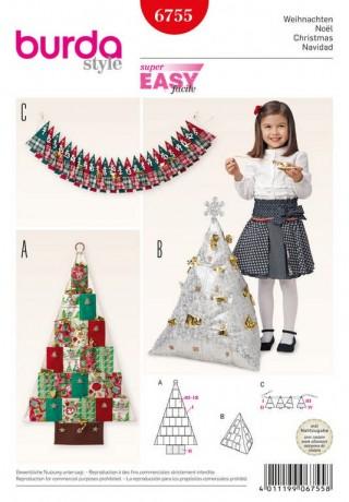 Weihnachten – Adventskalender – Pyramidenkissen, Schnittmuster Burda 6755