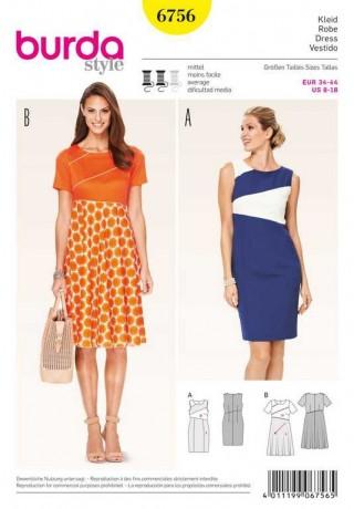 Kleid – Colourblocking, Gr. 34 - 44, Schnittmuster Burda 6756