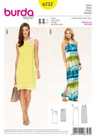Kleid – schmale Silhouette, Gr. 34 - 44, Schnittmuster Burda 6757