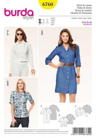 Kleid, Jacke – beliebte Klassiker, Gr. 36 - 48, Schnittmuster Burda 6760