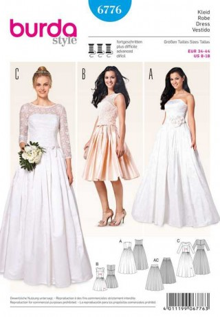 Korsagenkleid – Brautkleid, Spitzenoberteil – Tüllunterrock, Gr. 34 - 44, Schnittmuster Burda 6776