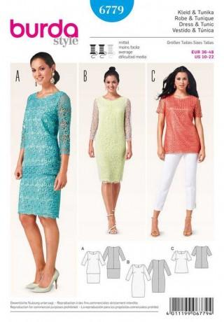 Kleid – Tunika – Spitzenstoff, Gr. 36 - 48, Schnittmuster Burda 6779