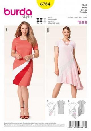 Kleid – Colourblocking – Materialmix, Gr. 44 - 54, Schnittmuster Burda 6784