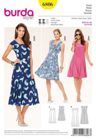 Kleid – Godets, Gr. 34 - 46, Schnittmuster Burda 6806