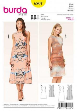 Kleid – Rückendekolleté, Gr. 34 - 46, Schnittmuster Burda 6807