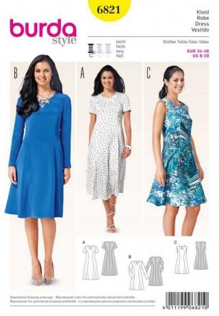 Kleid – tailliert mit ausgestellten Bahnen, Gr. 34 - 46, Schnittmuster Burda 6821