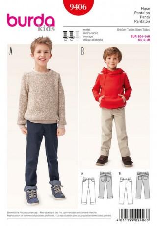 Jeans mit Gummizug im Bund, Gr. 104 - 140, Schnittmuster Burda 9406